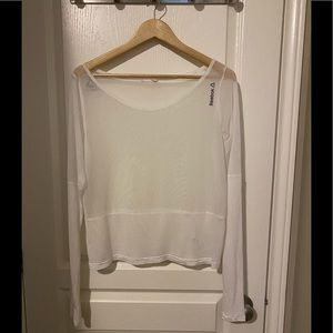 Reebok White Meshed Fitness Top